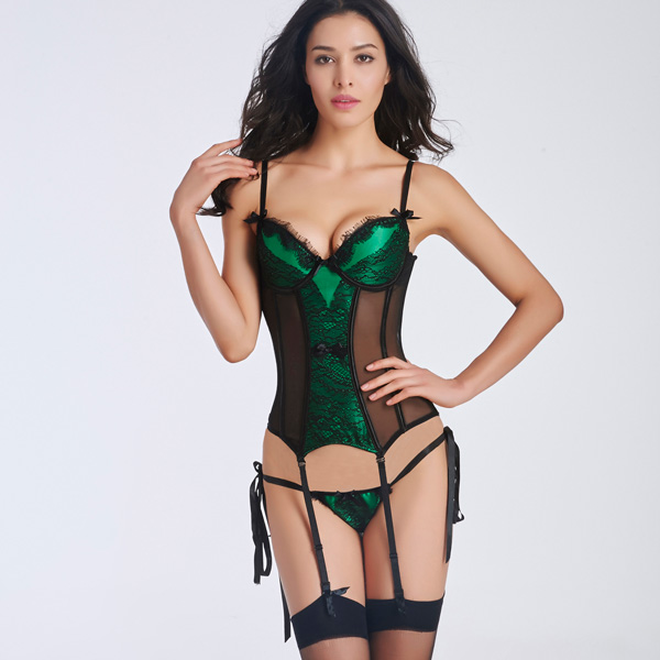 Sexy Lace Transparent Stain Overbust Corset Bustier With Removable Garters CO5001