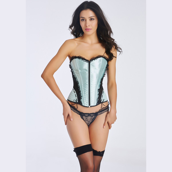 Women's Front Zipper Premium Satin Overbust Corset With Floral Lace CO5005