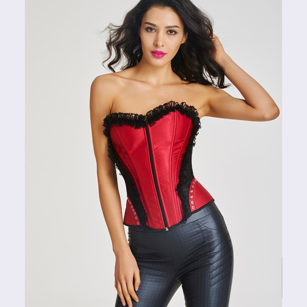 Women's Front Zipper Premium Satin Overbust Corset With Floral Lace CO5007