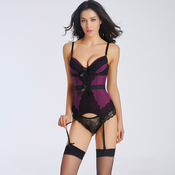 Sexy Removable Straps Lace Overlay Corset with Removable Garters Panty CO5021