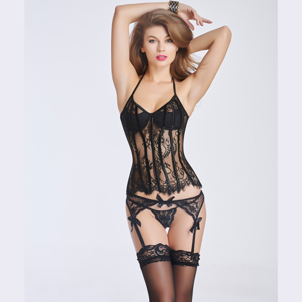 Sexy Lace Transparent Corset Bustier With Back Hook Eye Closure CO5023