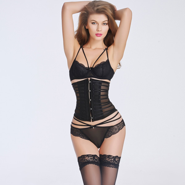 Sexy Transparent Stain Underbust Corset Bustier With Front Steel Busk CO5025