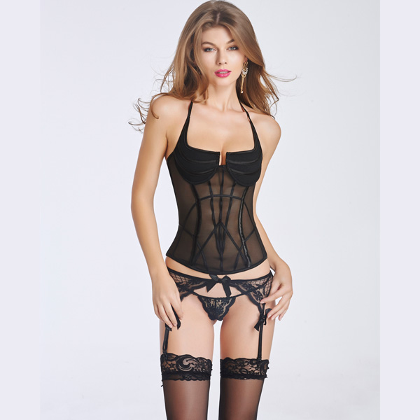 Women's Sexy Transparent Corset Bustier With Back Hook Eye Closure CO5026