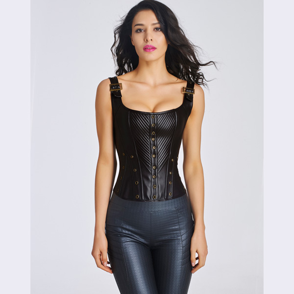 Women's Sexy Faux Leather Bustier Corset With Lace Up Back CO5031