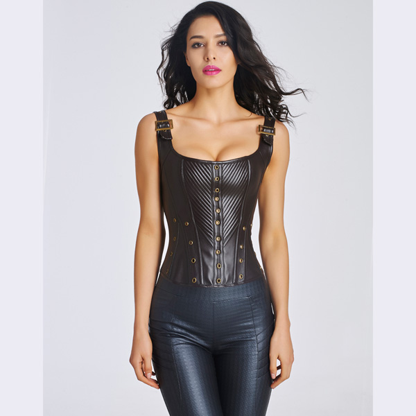 Women's Sexy Faux Leather Bustier Corset With Lace Up Back CO5032