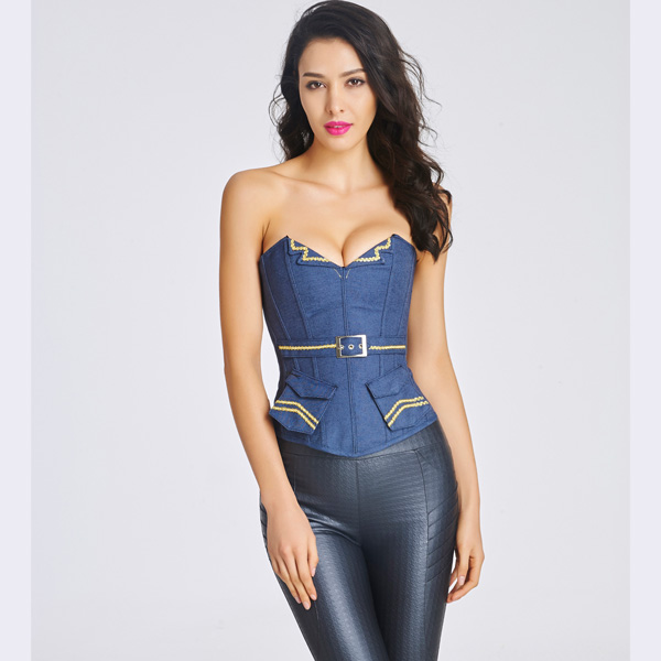 Women's Retro Navy Style Denim Strapless Overbust Corset with Pockets CO5039