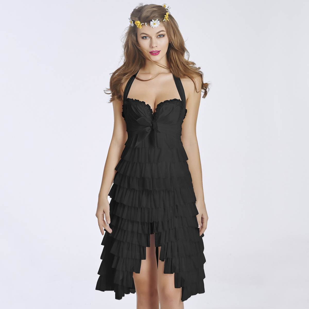 Women's Elegant black Lace Overlay Corset Dress With Underwire Cups CO5051