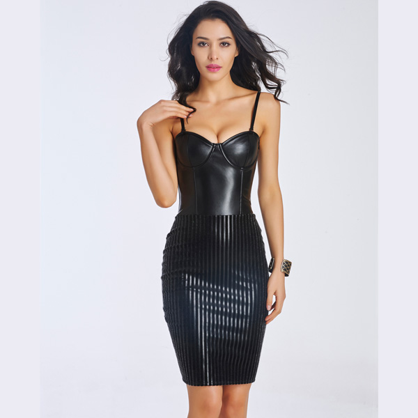 Women's Fashion Sexy Black Leather Corset Dress With Back Zipper CO5052