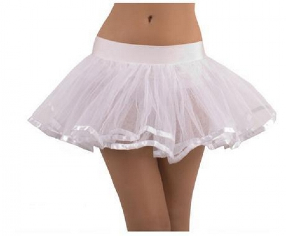 Wholesale White Doube Layer Costume Tutu Petticoat with Satin Trim SEP585