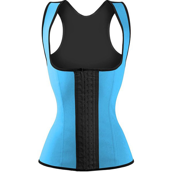3 Hook Workout Faja Shapeware Latex Rubber Waist Training Bustier Corset Light Blue LC9113