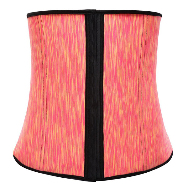 Womens Latex Waist Cincher Spiral Steel Boned Tummy Shapewear Girdle Orange LC9105