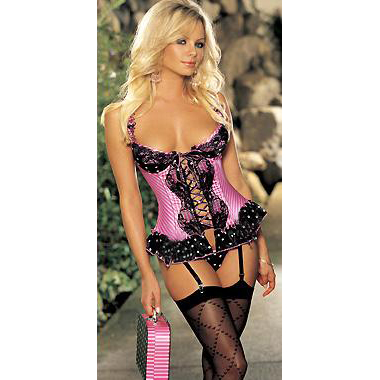Wholesale Satin and Mesh Bustier with G-String BTS529