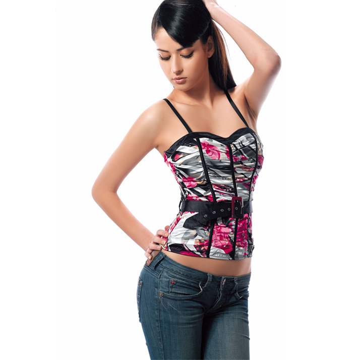Wholesale satin rose print panels bustier BTS536