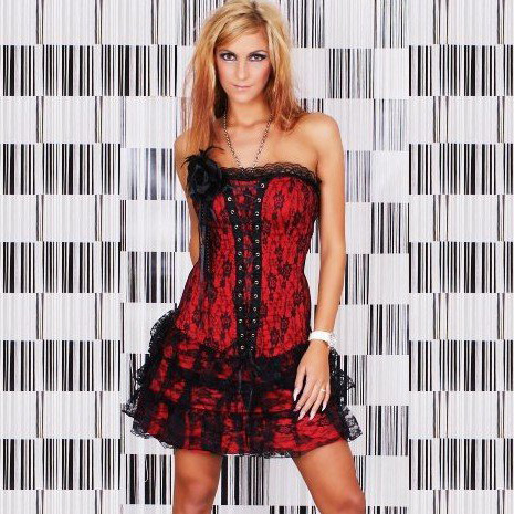 Wholesale 3pcs Corset, Skirt & g-string CPS582