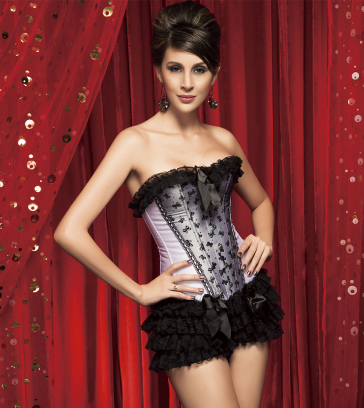 Wholesale 3pc corset & ruffle panty CPS593