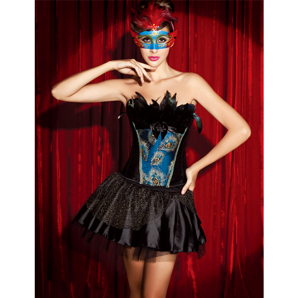 Wholesale Peacock Bustier with Feathers SET & skirt CPS543