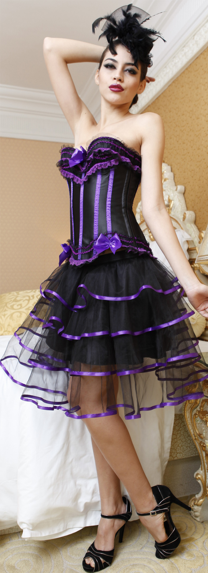 Wholesale Pretty In Purple Burlesque corset&Petticoat CPS558