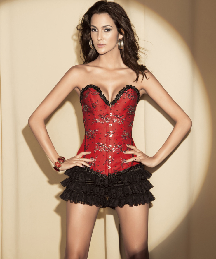Wholesale Red Floral Sparkle Corset & Black Shorts CPS529