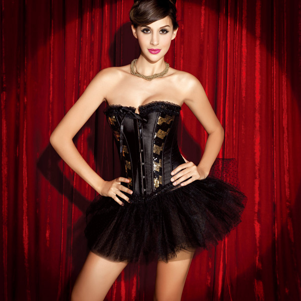 Wholesale Sequin and Satin Corset & Pettiskirt CPS535