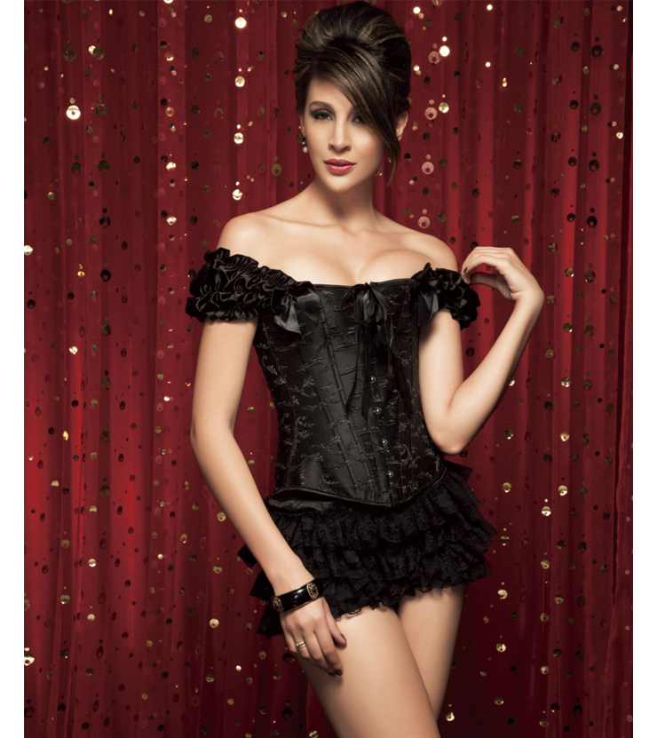 Wholesale Steel Boning corset & Ruffle panty CPS522