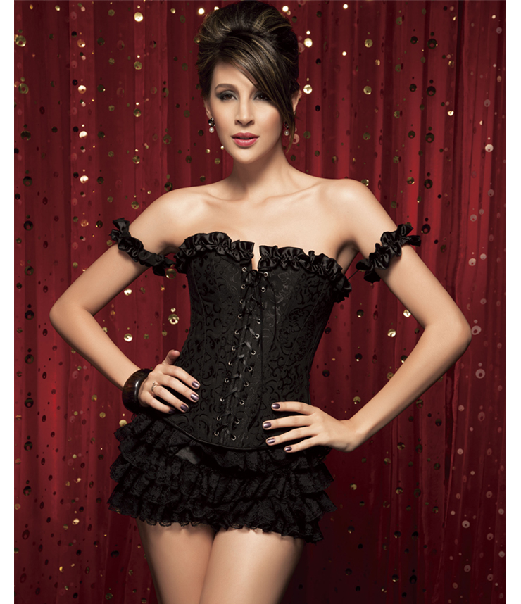 Wholesale Tie-Strap embroidered Corset & shorts CPS523