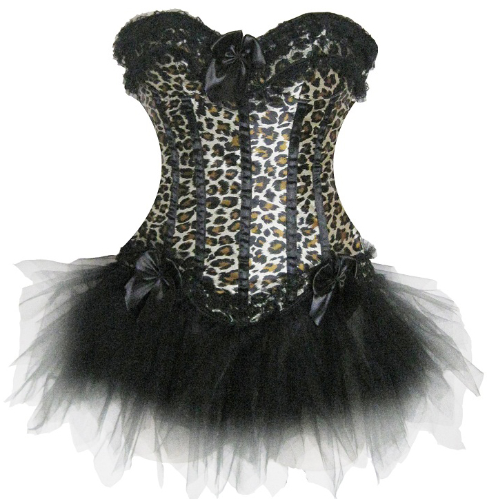 Wholesale leopard corset & black pettiskirt CPS601