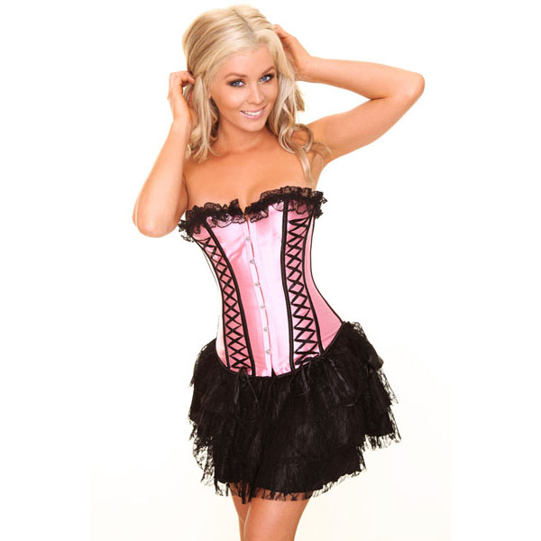 Wholesale pink corset& black mini Skirt CPS599