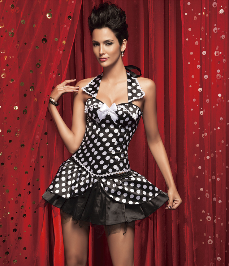 Wholesale polka dot collar corset & skirt CPS520