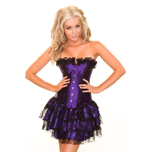 Wholesale purple corset& purple mini Skirt CPS600