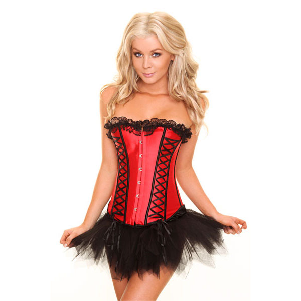 Wholesale red corset&Pettiskirt Set CPS595