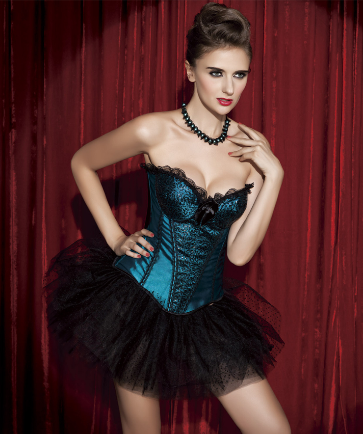 Wholesale sequin and Satin corset & pettiskirt CPS534