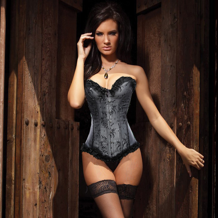 Wholesale Beauty Floral Burlesque Corset Gray OUC868