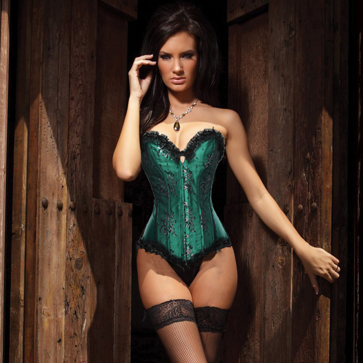 Wholesale Beauty Floral Burlesque Corset Green OUC867