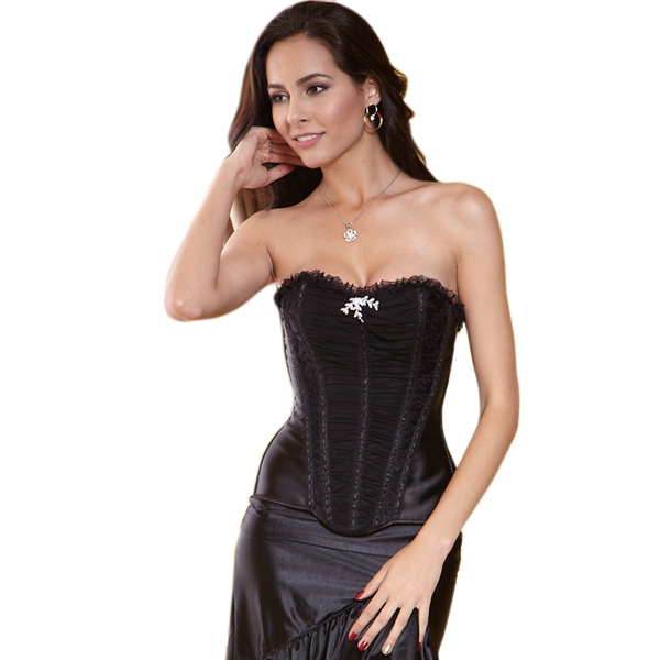 Wholesale Black Pleated Corset OUC536