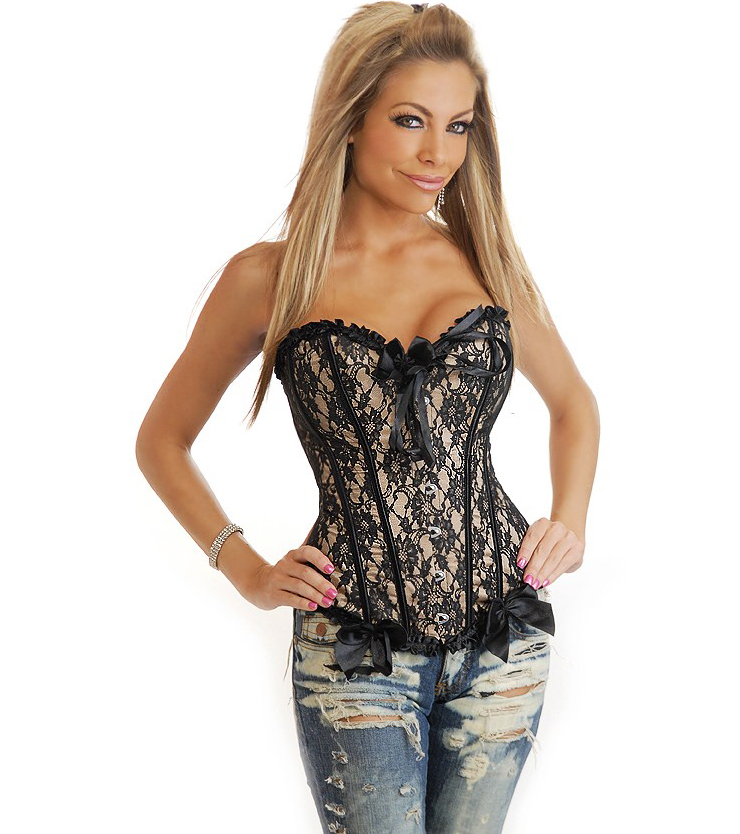 Wholesale Black and Beige Corset OUC919