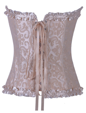 Wholesale Brocade Corset Ivory With Zipper Front OUC966