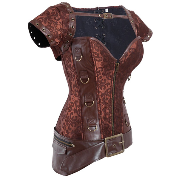 Wholesale Brocade & Faux Leather Shrug & Belt Corset OUC518
