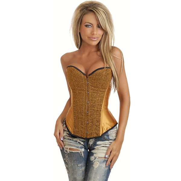 Wholesale Bronze Sequin Burlesque Corset OUC945