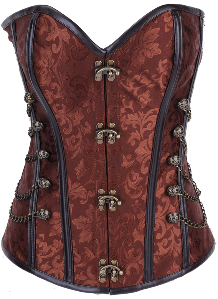 Wholesale Brown Steel Boned Steampunk Corset OUC550
