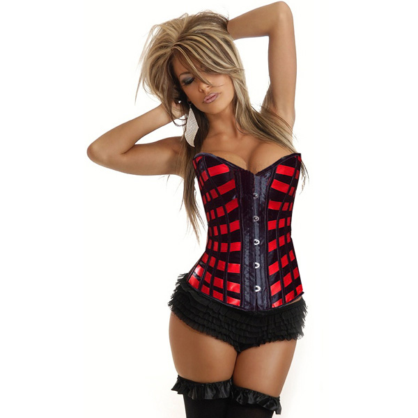Wholesale Burlesque Ribbons Overbust Corset OUC912