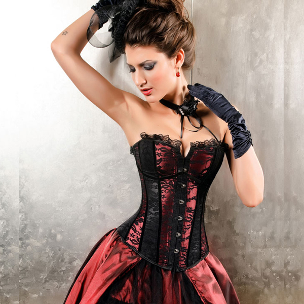 Wholesale Can Can Black and Red Corset OUC642