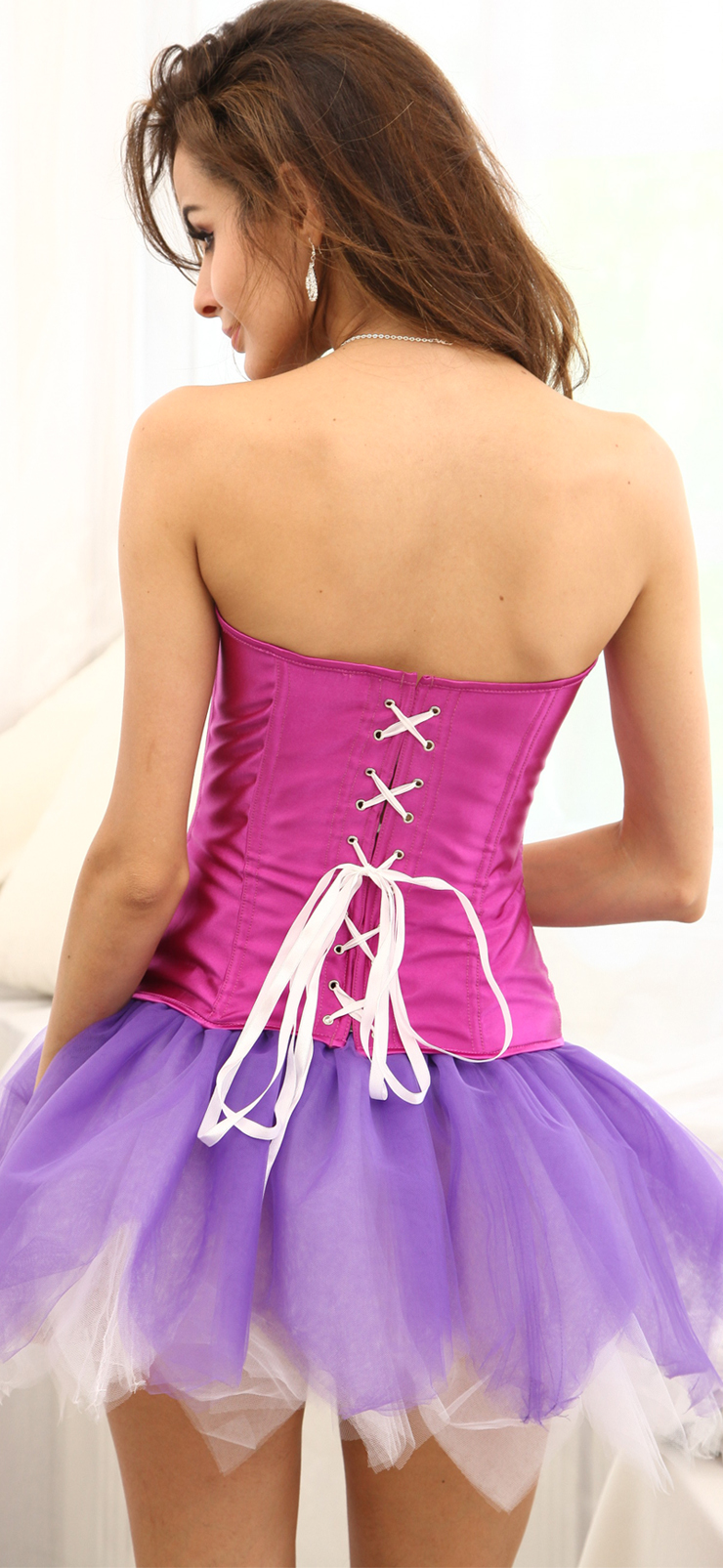 Wholesale Classic Purple Corset with Pink Stripe OUC790