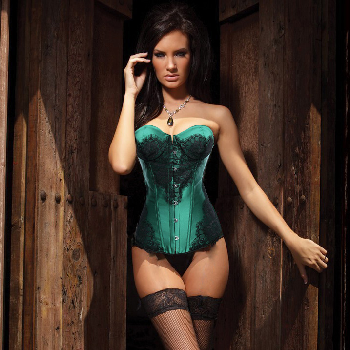 Wholesale Classical Lace Overlay Corset Green OUC871