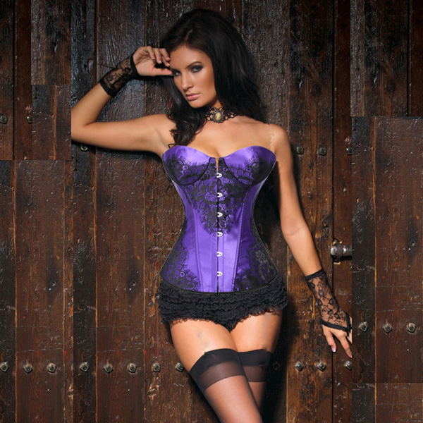 Wholesale Classical Lace Overlay Corset Purple OUC869