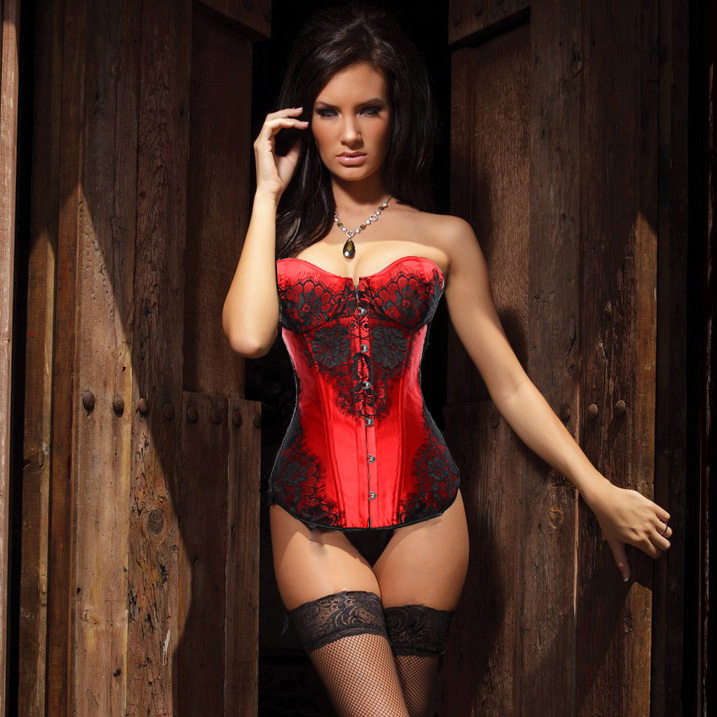 Wholesale Classical Lace Overlay Corset Red OUC870