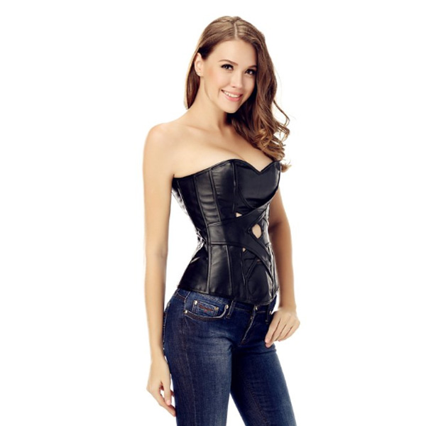 Wholesale Criss Cross Leather Corset OUC512