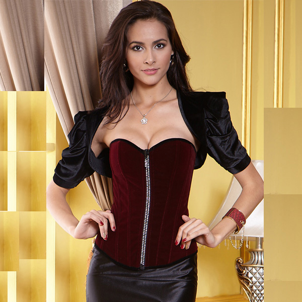 Wholesale Dark-Red Velvet Corset OUC537
