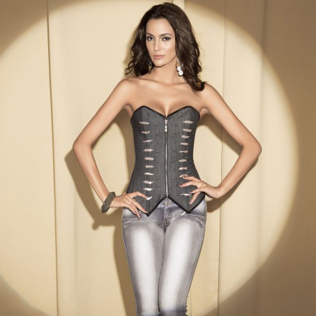Wholesale Denim Zipper Corset OUC667