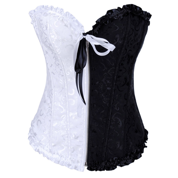 Wholesale Floral Brocade black & white Corset OUC970