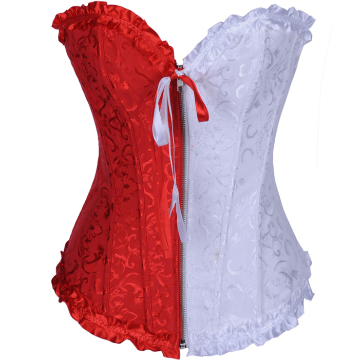 Wholesale Floral Brocade red & white Corset OUC968